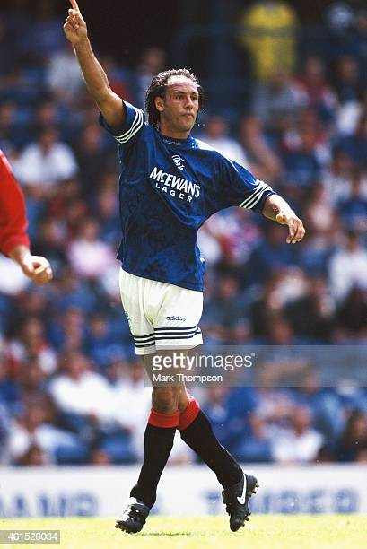 Rangers forward Mark Hateley in action during a match between Rangers and Steaua Bucharest at Ibrox on July 30 1995 in Glasgow Scotland
