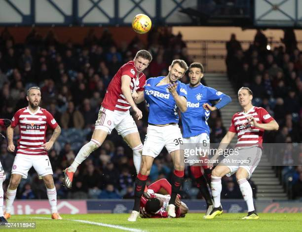 Rangers' Gareth McAuley vies with Hamilton Academical's Aaron McGowan during the Ladbrokes Scottish Premiership match at Ibrox Stadium Glasgow