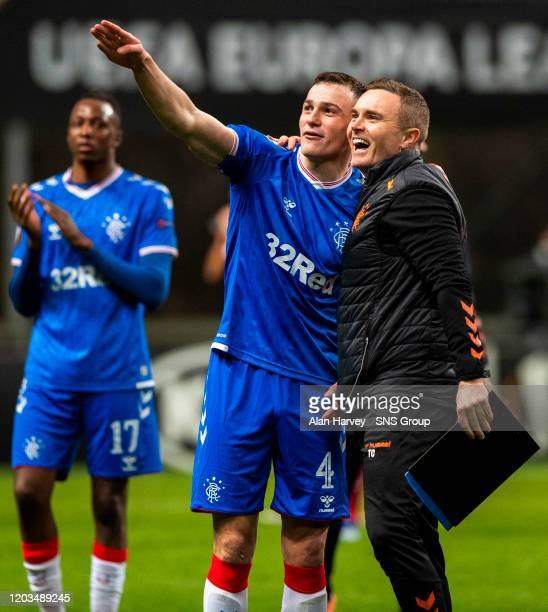 Rangers George Edmundson and Tom cumshaw at Full Time during the Europa League Round of 32 2nd Leg match between SC Braga and Rangers at Estadio...