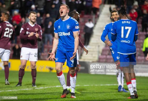 Rangers George Edmundson appears dejected during the William Hill Scottish Cup quarter final match at Tynecastle Park Edinburgh