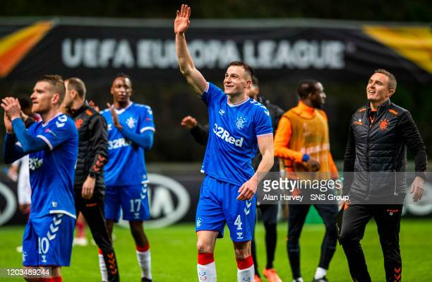 Rangers George Edmundson at Full Time during the Europa League Round of 32 2nd Leg match between SC Braga and Rangers at Estadio Municipal de Braga...