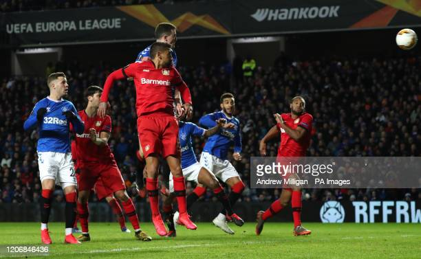 Rangers' George Edmundson scores his side's first goal of the game during the UEFA Europa League round of 16 first leg match at Ibrox Stadium Glasgow