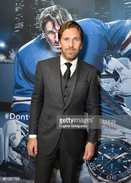 Rangers Goalie And TAG Heuer Brand Ambassador Henrik Lundqvist Celebrates The Opening Of The New Fifth Avenue Flagship Boutique on April 25 2018 in...