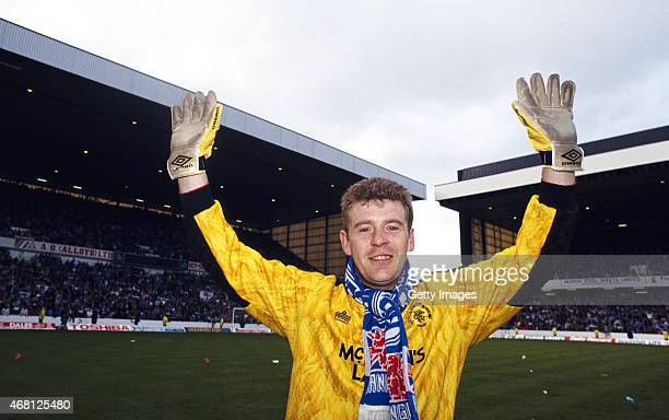 Rangers goalkeeper Andy Goram celebrates after Rangers had beaten St Mirren to land the 1991/92 Scottish Premier Division Title at Ibrox on April 18...