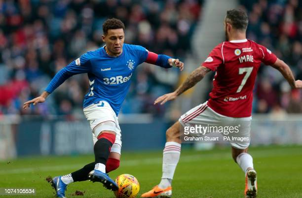 Rangers' James Tavernier vies with Hamilton Academical's Dougie Imrie during the Ladbrokes Scottish Premiership match at Ibrox Stadium Glasgow