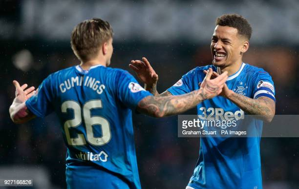 Rangers' Jason Cummings celebrates scoring their fourth goal of the game with tea mate James Tavernier during the Ladbrokes Scottish Premiership...