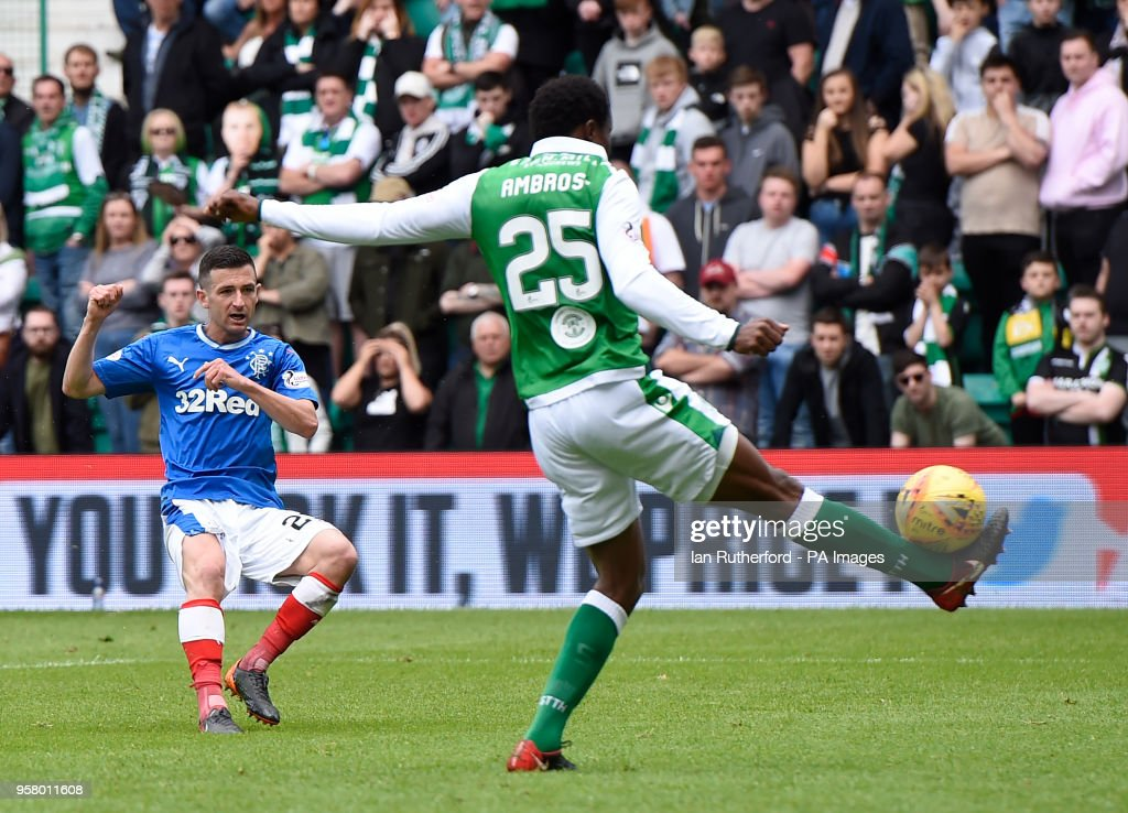 Rangers Jason Holt scores his side's fourth goal of the game during the Ladbrokes Scottish Premiership match at Easter Road, Edinburgh.