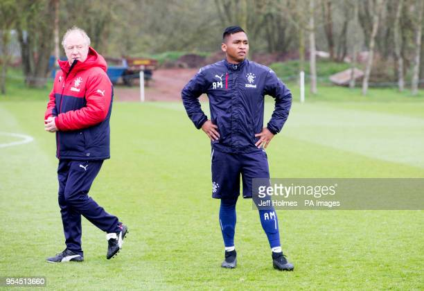 Rangers' Jimmy Nicholl watches over Alfredo Morelos during training at Murray Park Glasgow