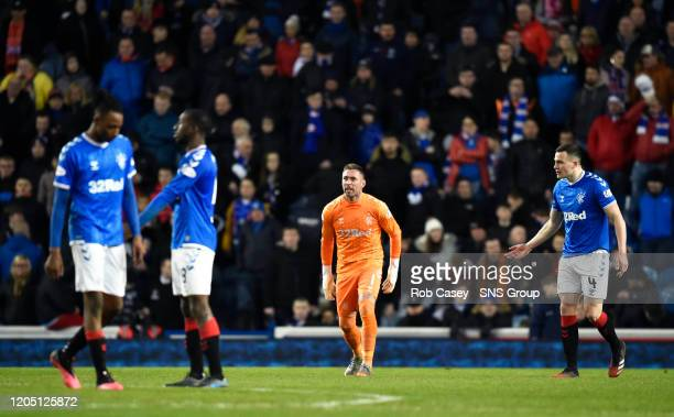 Rangers' Joe Aribo Glen Kamara Allan McGregor and George Edmundson are pictured during the Ladbrokes Premiership match between Rangers and Hamilton...