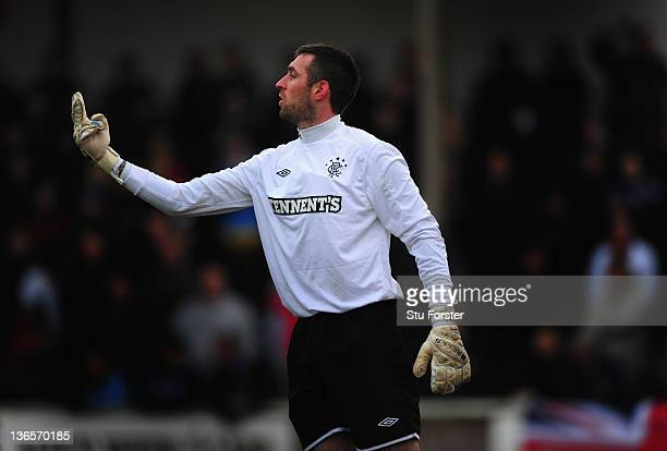 Rangers keeper Allan McCgregor in action during the William Hill Scottish Cup Fourth Round match between Arbroath and Rangers at Gayfield park on...