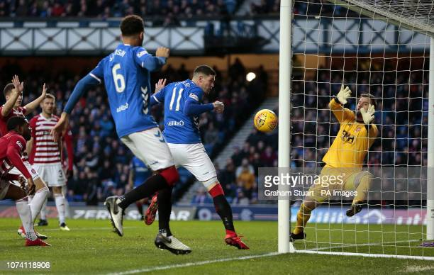 Rangers' Kyle Lafferty hits the post against against Hamilton Academical during the Ladbrokes Scottish Premiership match at Ibrox Stadium Glasgow