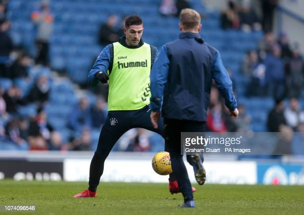 Rangers' Kyle Lafferty in the warmup before play against Hamilton Academical during the Ladbrokes Scottish Premiership match at Ibrox Stadium Glasgow