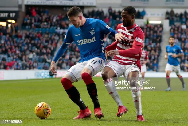 Rangers' Kyle Lafferty vies with Hamilton Academical's Lenny Sowah during the Ladbrokes Scottish Premiership match at Ibrox Stadium Glasgow