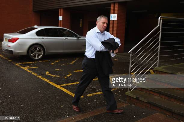 Rangers manager Ally McCoist arrives at Ibrox Stadium on February 28 2012 in Glasgow Scotland Staff and players at the club are awaiting the...