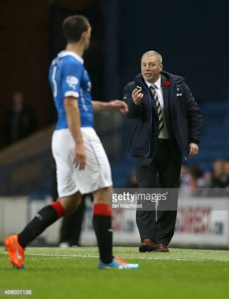 Rangers manager Ally McCoist gestures during the Scottish League Cup Quarter final between Rangers and St Johnstoneat Ibrox Stadium on October 28...
