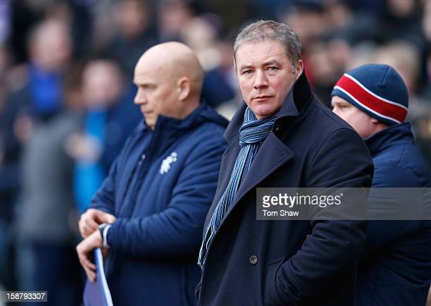 Rangers Manager Ally McCoist looks on during the IRNBRU Scottish Third Division match between Queens Park and Rangers at Hampden Park on December 29...