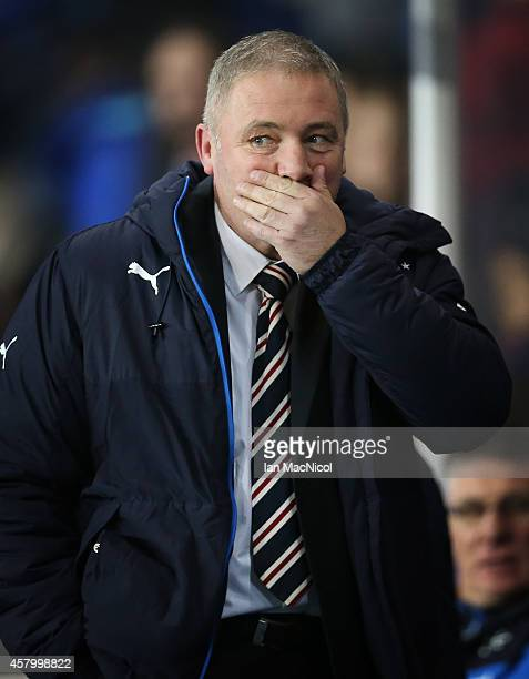 Rangers manager Ally McCoist looks on during the Rangers v St Johnstone Scottish League Cup QuarterFinal at Ibrox Stadium on October 28 2014 in...