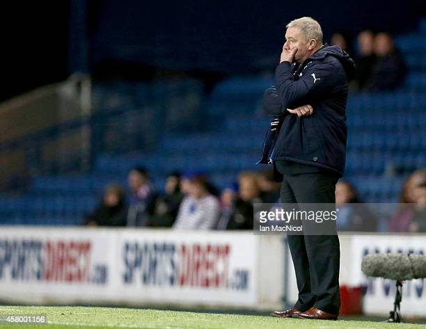 Rangers manager Ally McCoist looks on during the Scottish League Cup Quarter final between Rangers and St Johnstoneat Ibrox Stadium on October 28...