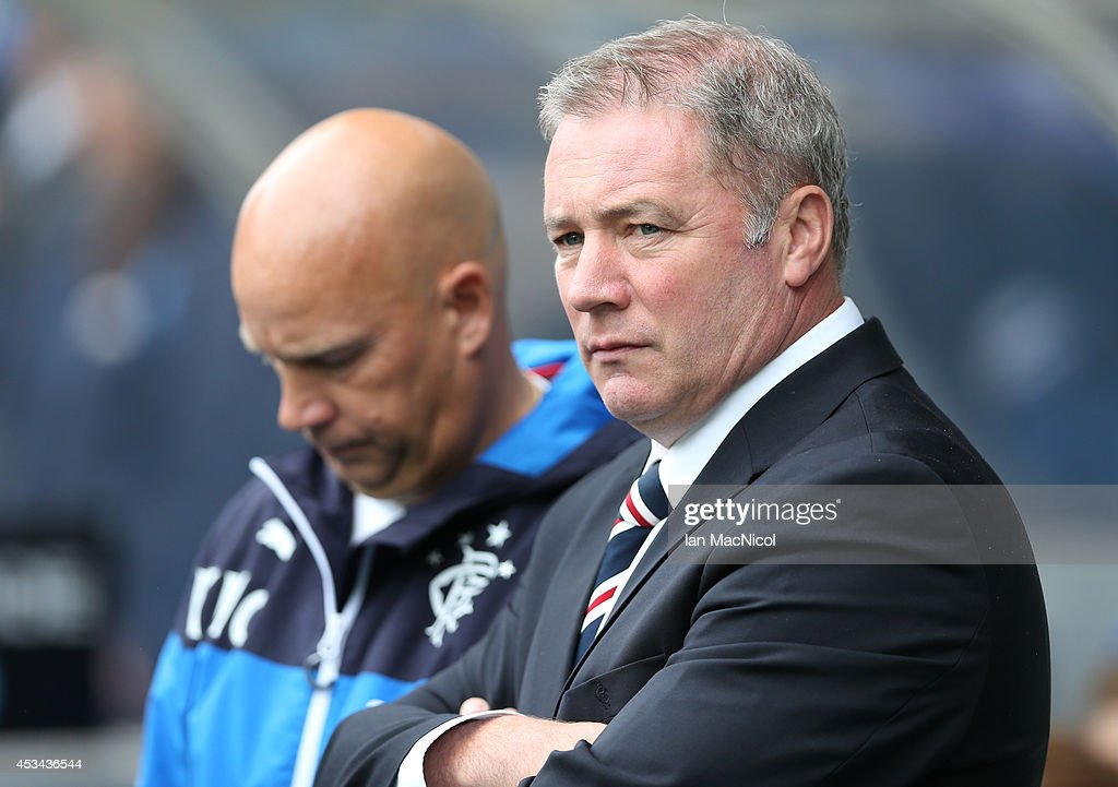 Rangers manager Ally McCoist looks on during the Scottish Championship Opening League Match between Rangers and Hearts, at Ibrox Stadium on August 10, 2014 Glasgow, Scotland.