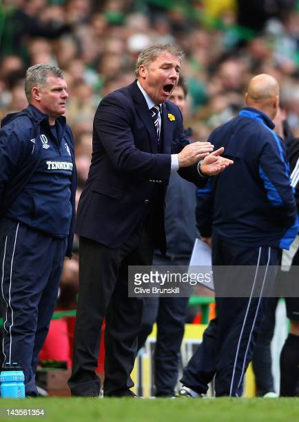 Rangers manager Ally McCoist shouts instructions to his team during the Clydesdale Bank Premier League match between Celtic and Rangers at Celtic...