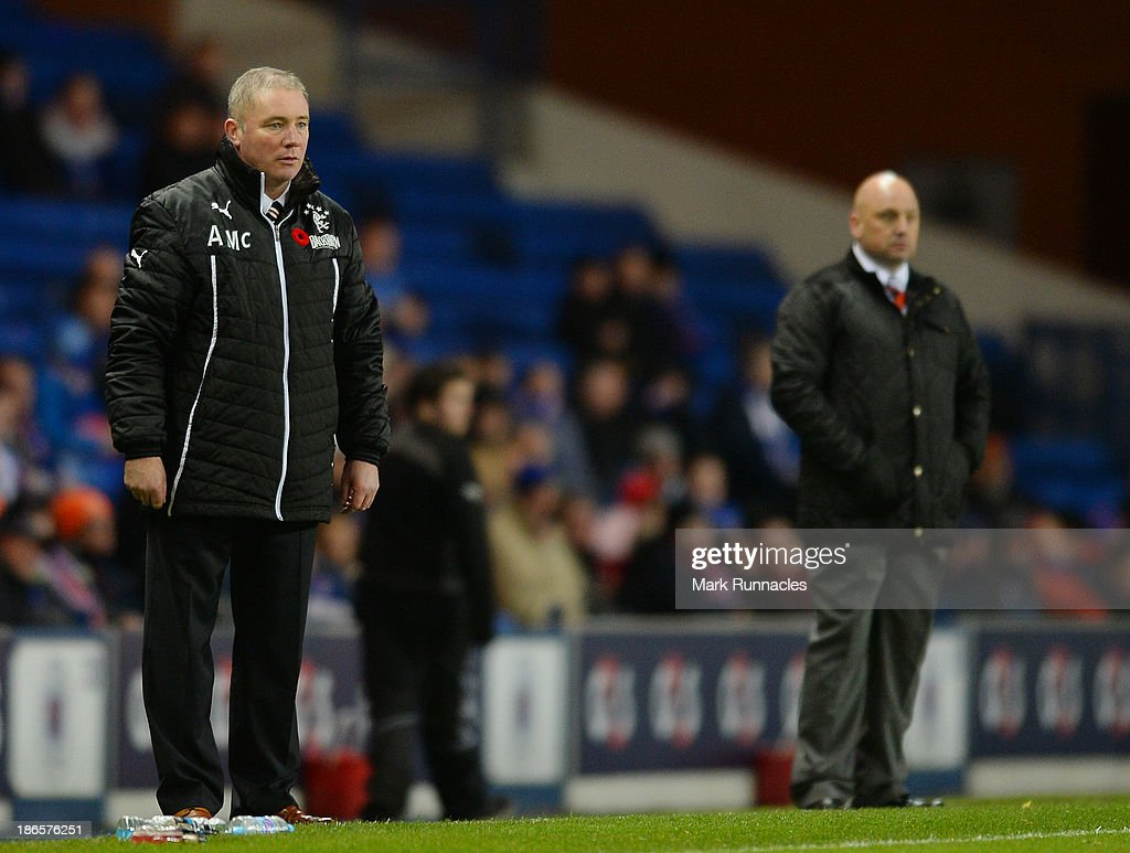 Rangers manager Ally McCoist watches on from the touch line during the The William Hill Scottish Cup Third Round match between Rangers and Airdrieonians at Ibrox Stadium on November 1, 2013 in Glasgow, Scotland.