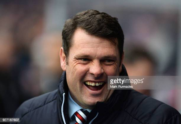 Rangers manager Graeme Murty all smiles on the touch line during the Scottish Cup Quarter Final match between Rangers and Falkirk at Ibrox Stadium on...