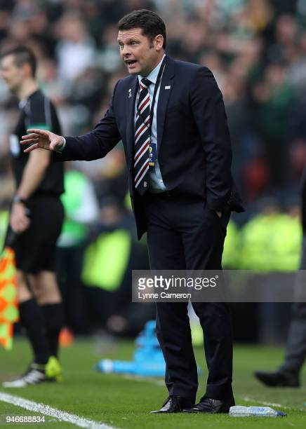 Rangers manager Graeme Murty during the Scottish Cup Semi Final between Rangers and Celtic at Hampden Park on April 15 2018 in Glasgow Scotland