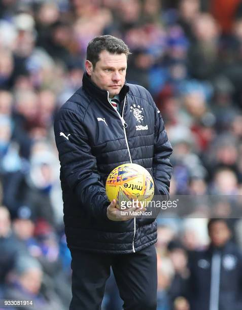 Rangers manager Graeme Murty is seen during the Ladbrokes Scottish Premiership match between Rangers and Kilmarnock at Ibrox Stadium on March 17 2018...