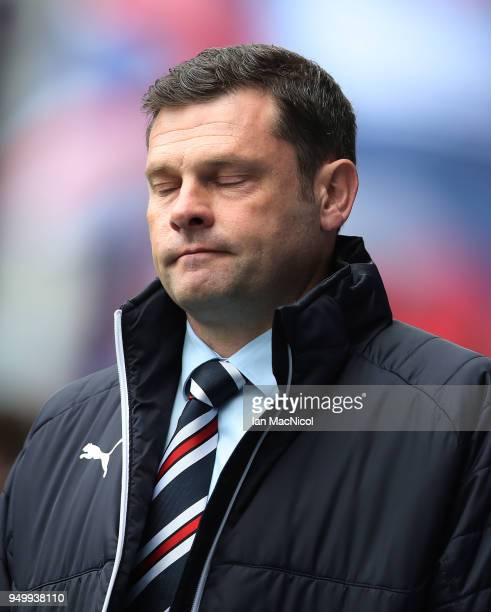 Rangers manager Graeme Murty is seen during the Ladbrokes Scottish Premiership match between Rangers and Hearts at Ibrox Stadium on April 22 2018 in...
