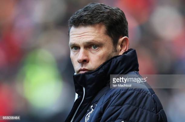 Rangers manager Graeme Murty looks on during the Ladbrokes Scottish Premiership match between Rangers and Kilmarnock at Ibrox Stadium on March 17...