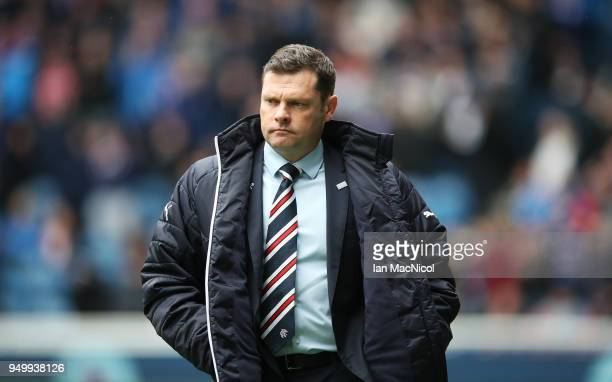 Rangers manager Graeme Murty looks on during the Ladbrokes Scottish Premiership match between Rangers and Hearts at Ibrox Stadium on April 22 2018 in...