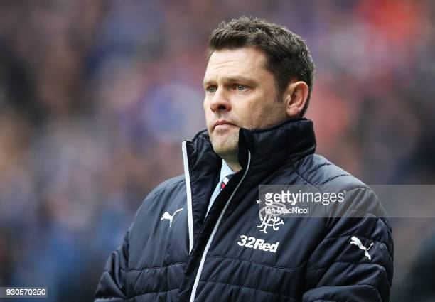 Rangers manager Graeme Murty looks on during the Rangers v Celtic Ladbrokes Scottish Premiership match at Ibrox Stadium on March 11 2018 in Glasgow...