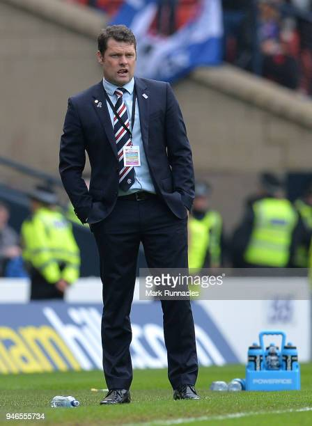 Rangers manager Graeme Murty looks on from the touch line during the Scottish Cup Semi Final match between Rangers and Celtic at Hampden Park on...