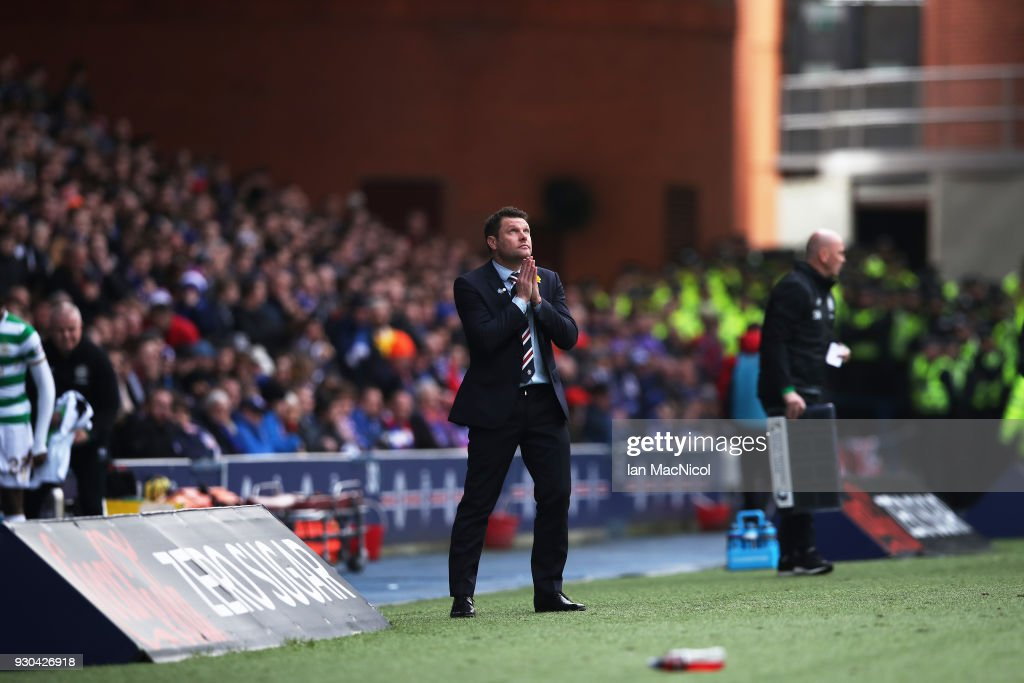 Rangers manager Graeme Murty reacts during the Rangers v Celtic Ladbrokes Scottish Premiership match at Ibrox Stadium on March 11, 2018 in Glasgow, Scotland.