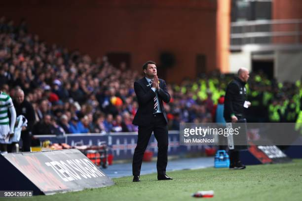 Rangers manager Graeme Murty reacts during the Rangers v Celtic Ladbrokes Scottish Premiership match at Ibrox Stadium on March 11 2018 in Glasgow...