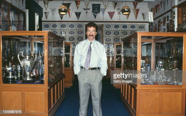 Rangers manager Graeme Souness pictured in the club trophy room during the 1989/90 season in Glasgow, United Kingdom.