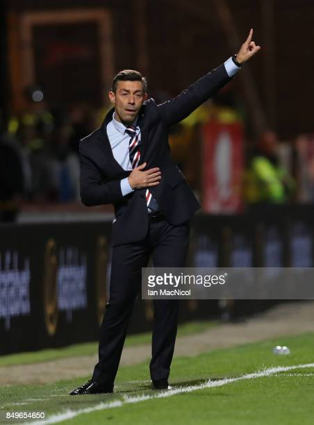 Rangers manager Pedro Caixinha is seen during the Betfred League Cup Quarter Final at Firhill Stadium on September 19 2017 in Glasgow Scotland
