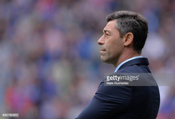 Rangers manager Pedro Caixinha looks on during the Ladbrokes Scottish Premiership match between Rangers and Hibernian at Ibrox Stadium on August 12...