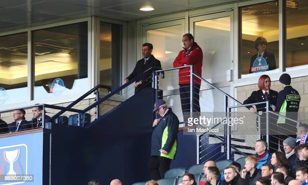 Rangers manager Pedro Caixinha looks on from the stand during the Betfred League Cup Semi Final between Rangers and Motherwell at Hampden Park on...