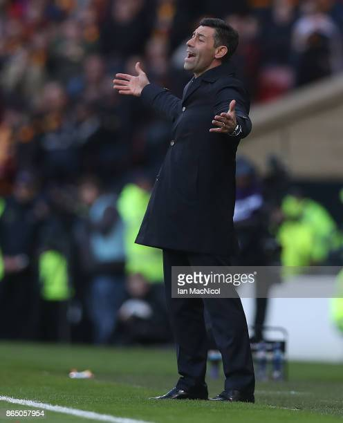 Rangers manager Pedro Caixinha reacts during the Betfred League Cup Semi Final between Rangers and Motherwell at Hampden Park on October 22 2017 in...