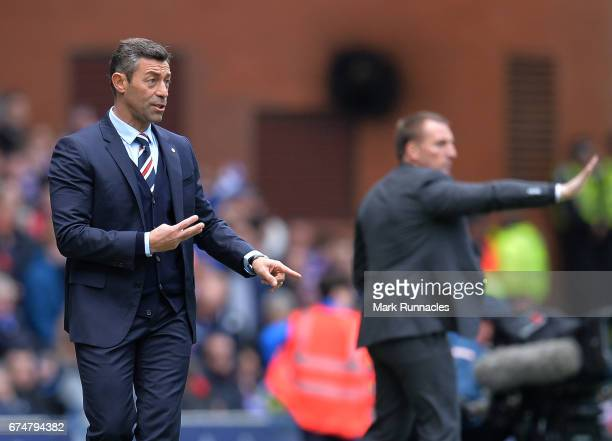 Rangers manager Pedro Caixinha shouts instructions during the Ladbrokes Scottish Premiership match between Rangers FC and Celtic FC at Ibrox Stadium...