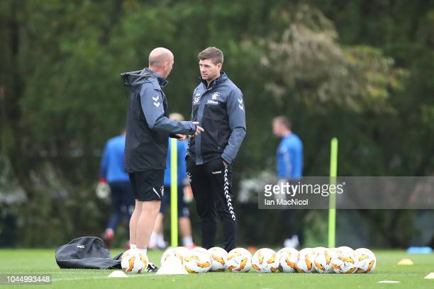 Rangers manager Steven Gerrard and assistant Gary McAllister are seen during a training session ahead of the UEFA Europa League Group G match between...