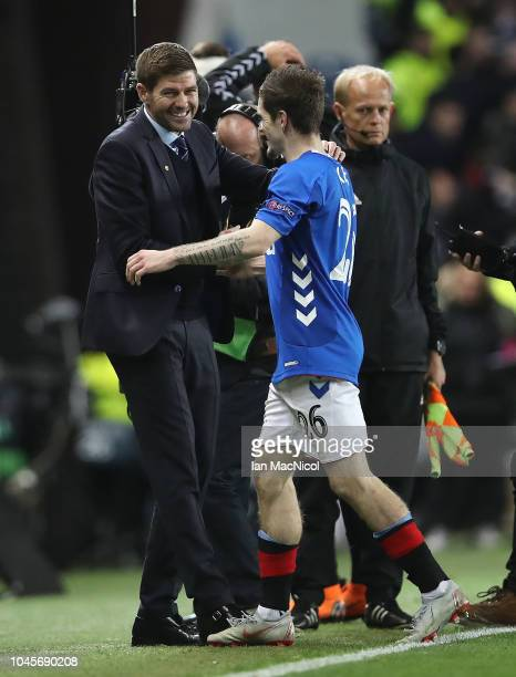 Rangers manager Steven Gerrard and Ryan Kent of Rangers are seen at full time during the UEFA Europa League Group G match between Rangers and SK...