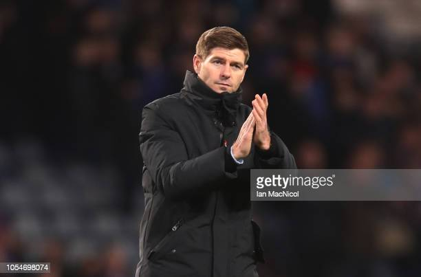 Rangers manager Steven Gerrard applauds the fans during the Betfred Scottish League Cup Semi Final match between Aberdeen and Rangers at Hapden Park...