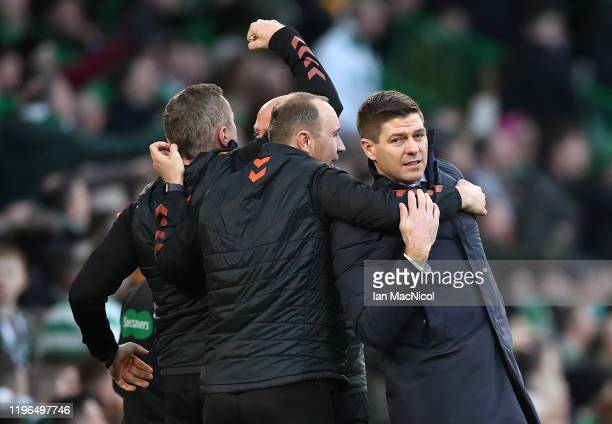 Rangers Manager Steven Gerrard celebrates his sides first goal with backroom staff during the Ladbrokes Premiership match between Celtic and Rangers...