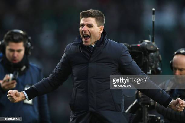 Rangers Manager Steven Gerrard celebrates victory during the Ladbrokes Premiership match between Celtic and Rangers at Celtic Park on December 29...