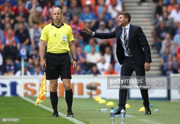 Rangers manager Steven Gerrard during the Europa League Qualifying Round One First Leg match at Ibrox Glasgow