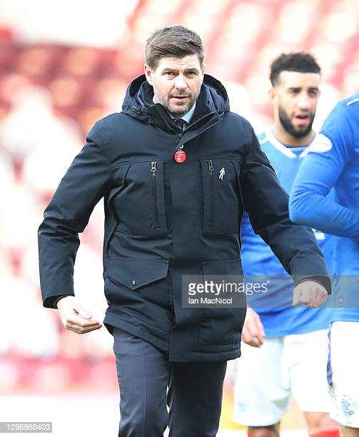 Rangers Manager Steven Gerrard is seen at full time during the Ladbrokes Scottish Premiership match between Motherwell and Rangers at Fir Park on...