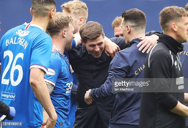 Rangers Manager Steven Gerrard is seen at full time during the Scottish Premiership match between Rangers and Aberdeen on May 15, 2021 in Glasgow,...