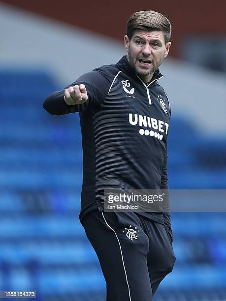 Rangers Manager Steven Gerrard is seen during the pre season friendly match between Rangers and Coventry City at Ibrox Stadium on July 25 2020 in...